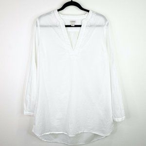 LL Bean Embroidered White Tunic Blouse Top Shirt L